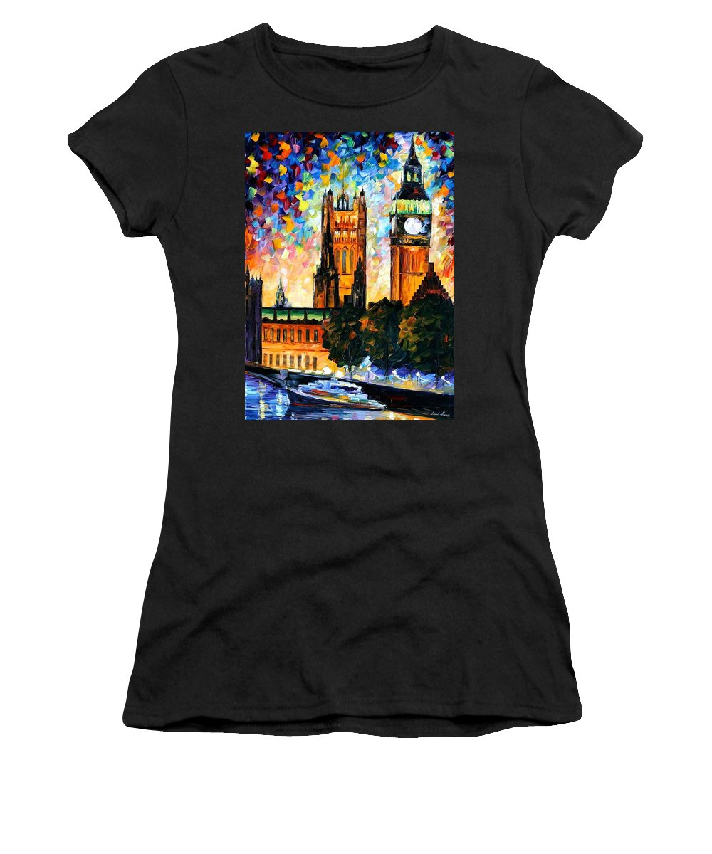 Afremov Women's T-Shirt featuring the painting Big Ben by Leonid Afremov