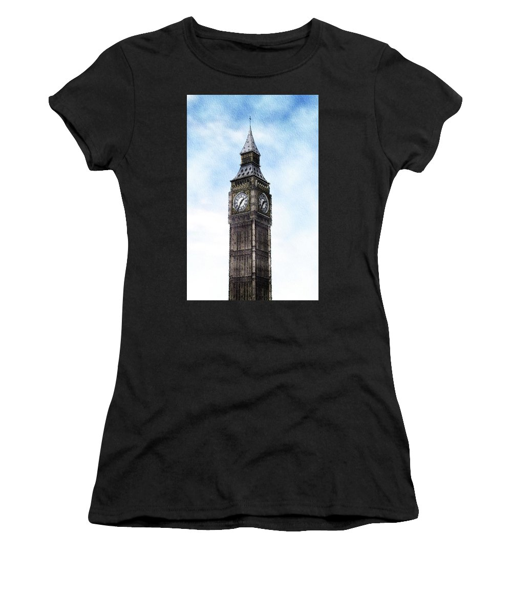 Big Women's T-Shirt (Athletic Fit) featuring the painting Big Ben, Parliament, London by Mary Bassett