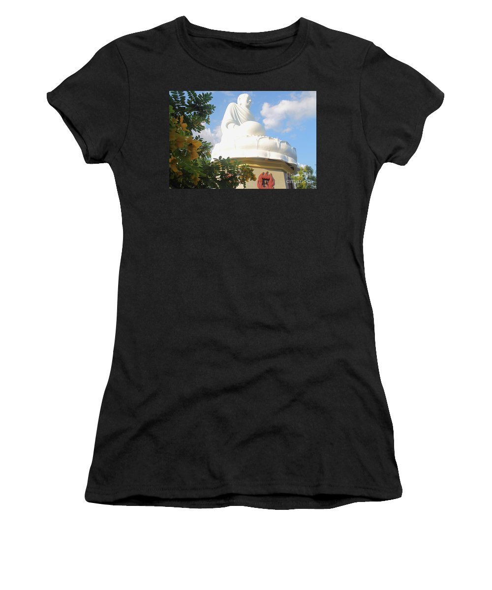 Pagoda Women's T-Shirt (Athletic Fit) featuring the photograph Big Buddha Statue At The Long Son Pagoda In Nha Trang Vietnam by Mariia Kilina
