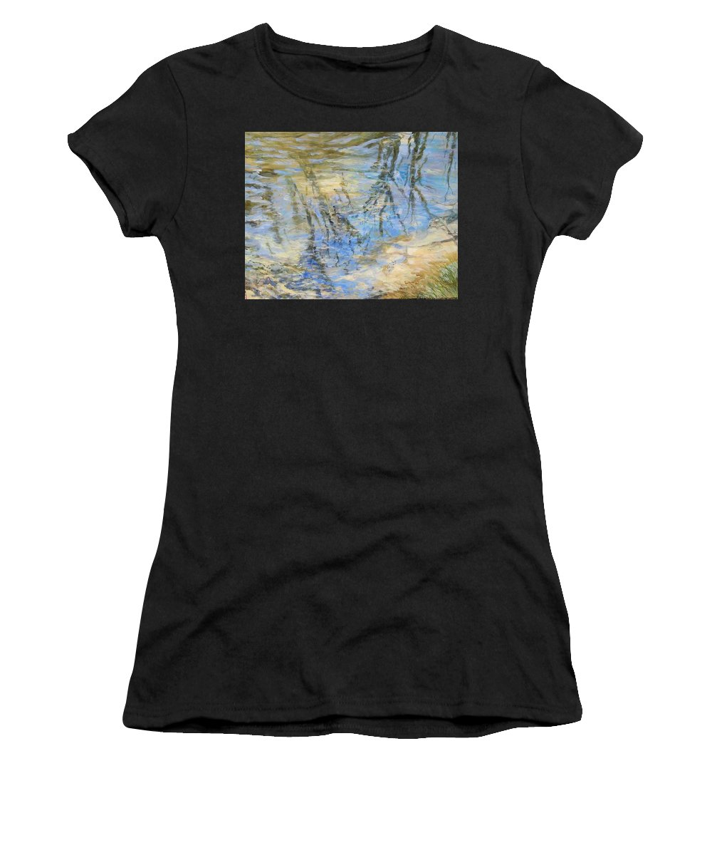 Water Women's T-Shirt (Athletic Fit) featuring the painting Big Creek by Denise Ivey Telep