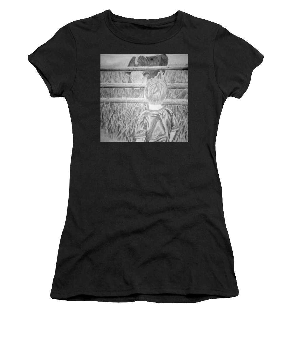 Graphite Women's T-Shirt featuring the drawing Big Enough by Meghan Shepperson