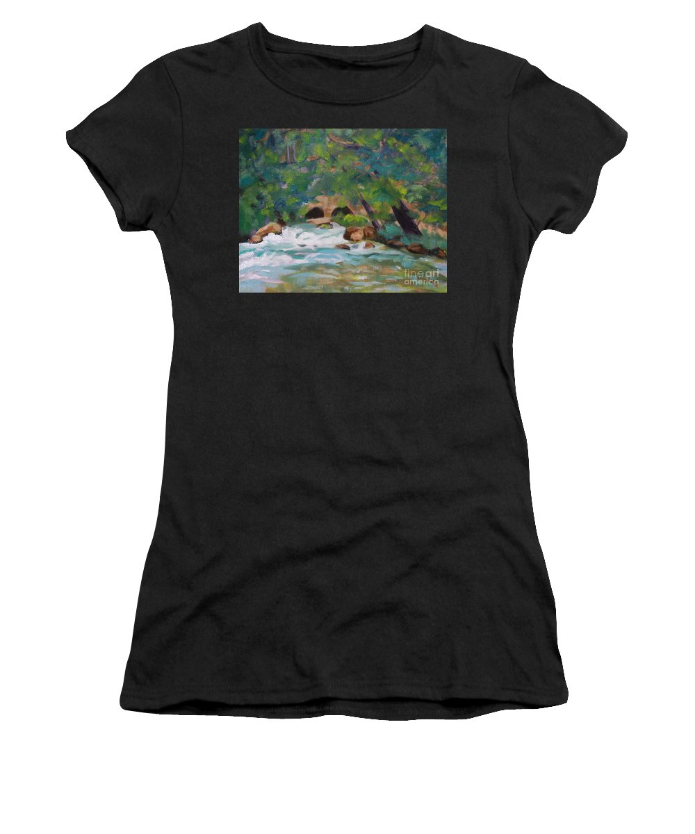 Impressionistic Women's T-Shirt (Athletic Fit) featuring the painting Big Spring On The Current River by Jan Bennicoff
