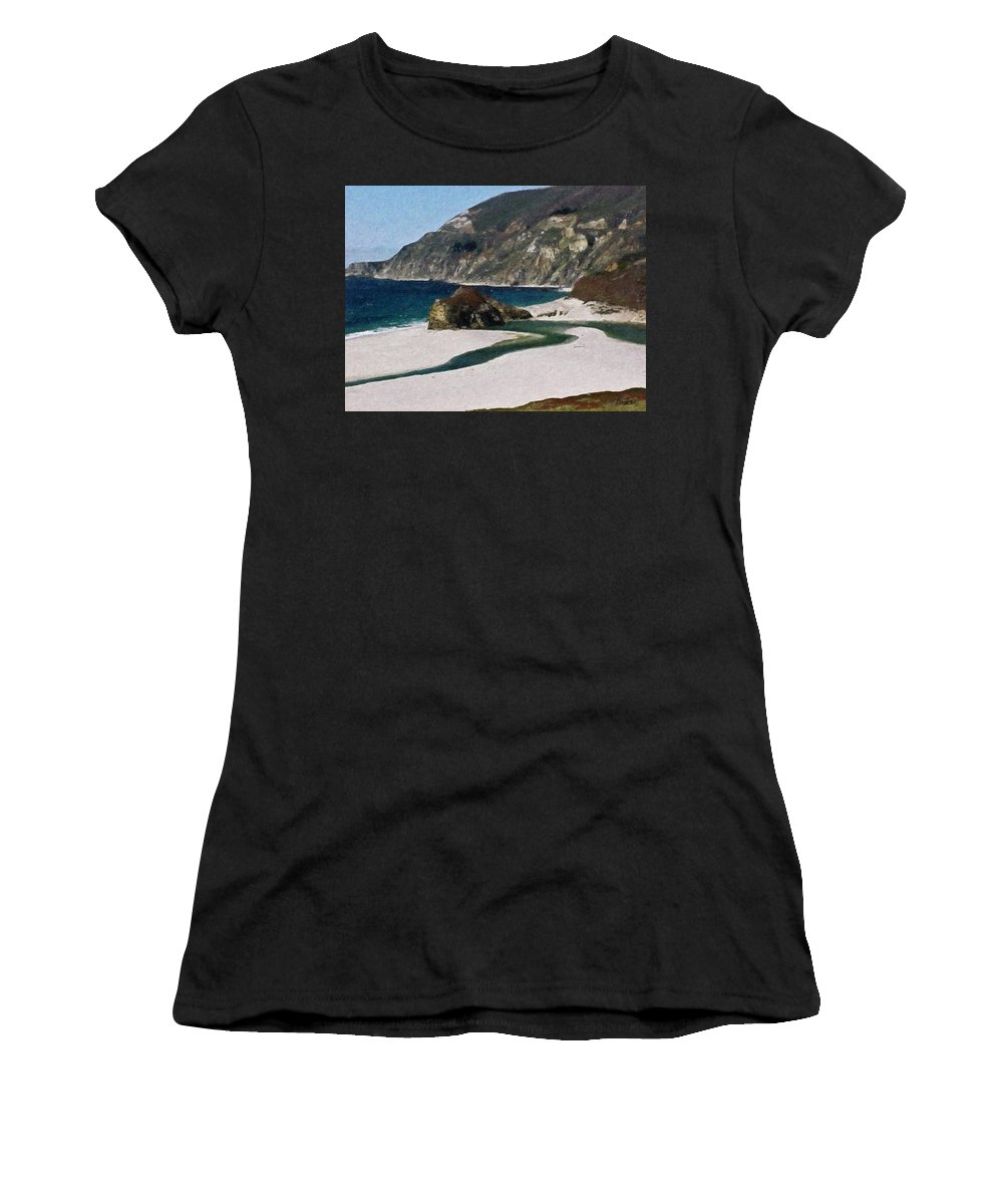 California Women's T-Shirt (Athletic Fit) featuring the painting Big Sur California by Teresa Mucha