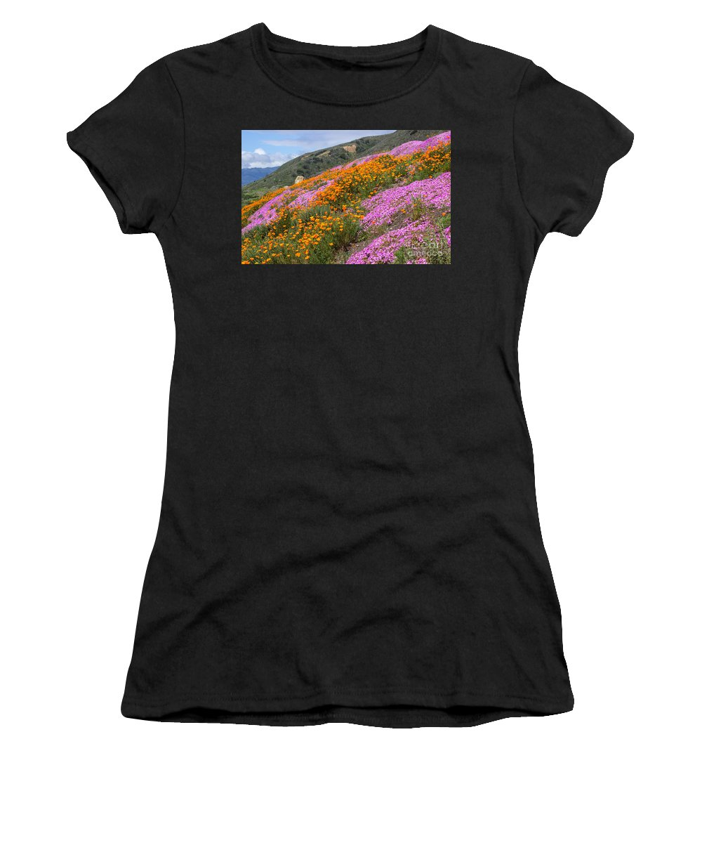 Flowers Women's T-Shirt featuring the photograph Big Sur Spring by Kris Hiemstra