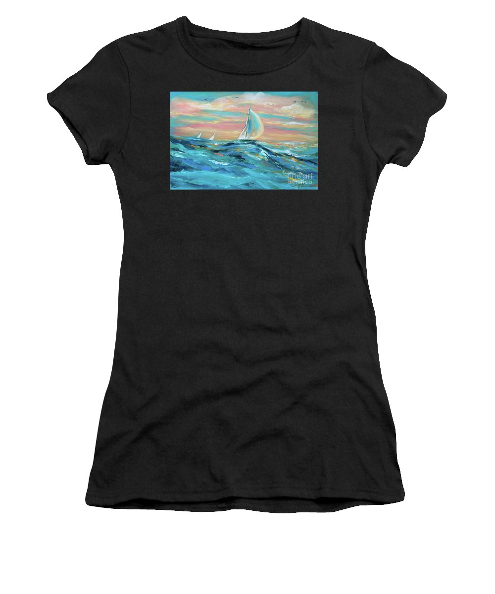 Sailing Women's T-Shirt (Athletic Fit) featuring the painting Big Swell by Linda Olsen