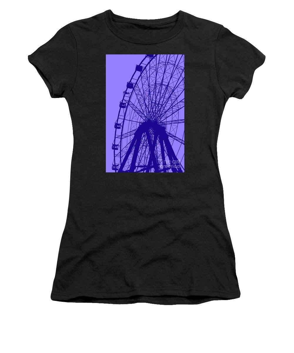 Big Women's T-Shirt featuring the digital art Big Wheel Blue by Eddie Barron