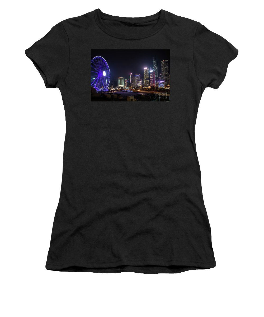 Apartment Women's T-Shirt (Athletic Fit) featuring the photograph Big Wheel In Hong Kong Central by Arnaud Martinez