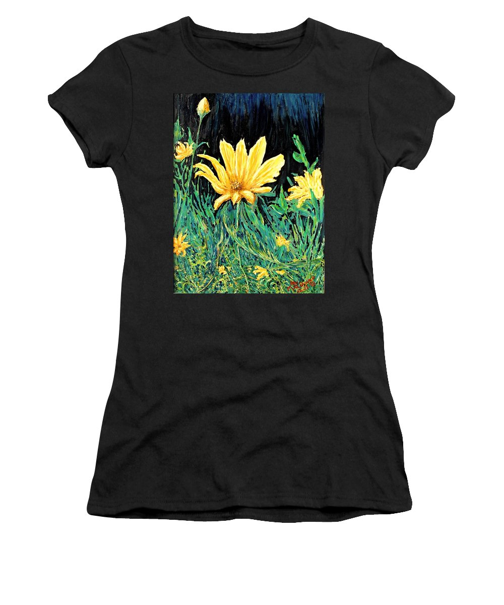 Flower Women's T-Shirt (Athletic Fit) featuring the painting Big Yellow by Ian MacDonald