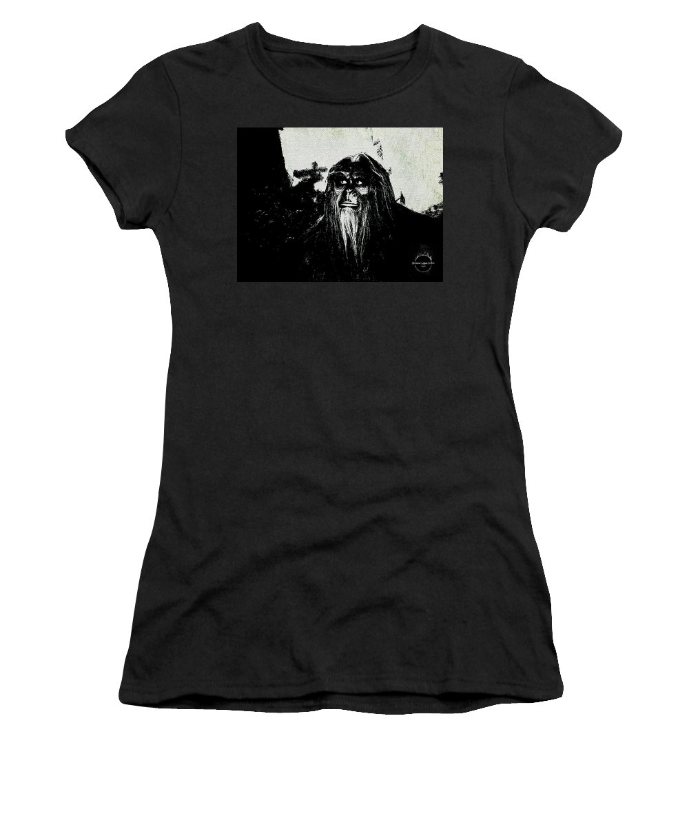 Bigfoot Women's T-Shirt (Athletic Fit) featuring the digital art Bigfoot by Absinthe Art By Michelle LeAnn Scott