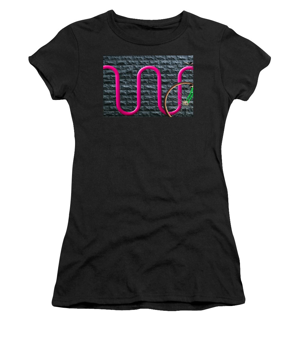 Bike Rack Women's T-Shirt (Athletic Fit) featuring the photograph Bike Rack by Paul Wear