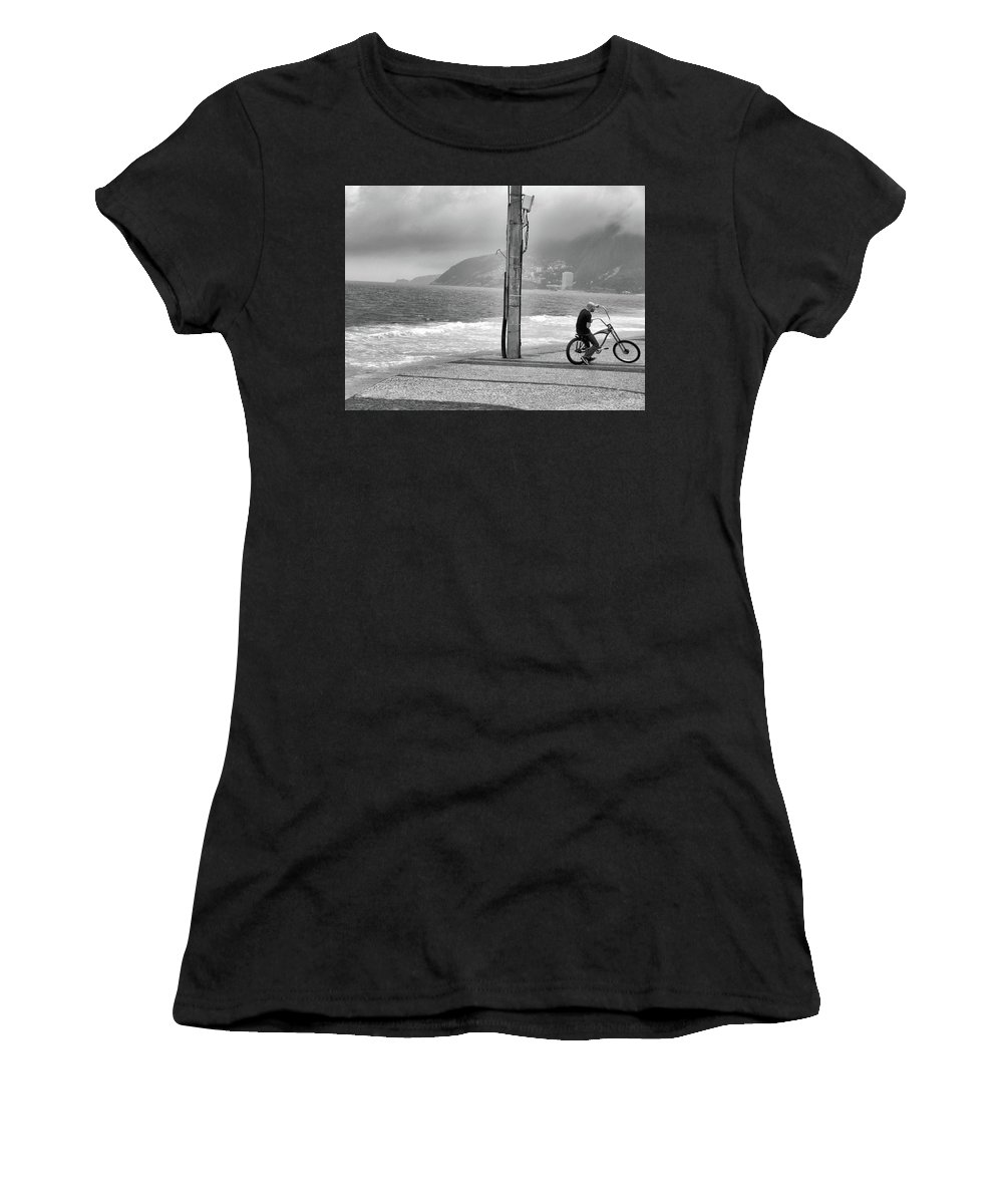 Biker Women's T-Shirt (Athletic Fit) featuring the photograph Biker In Ipanema by James Conway