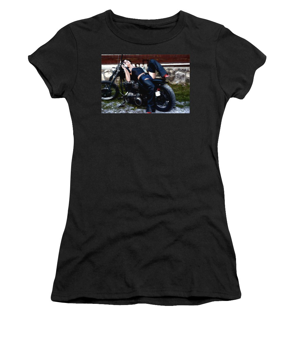 Clay Women's T-Shirt (Athletic Fit) featuring the photograph Bikes And Babes by Clayton Bruster