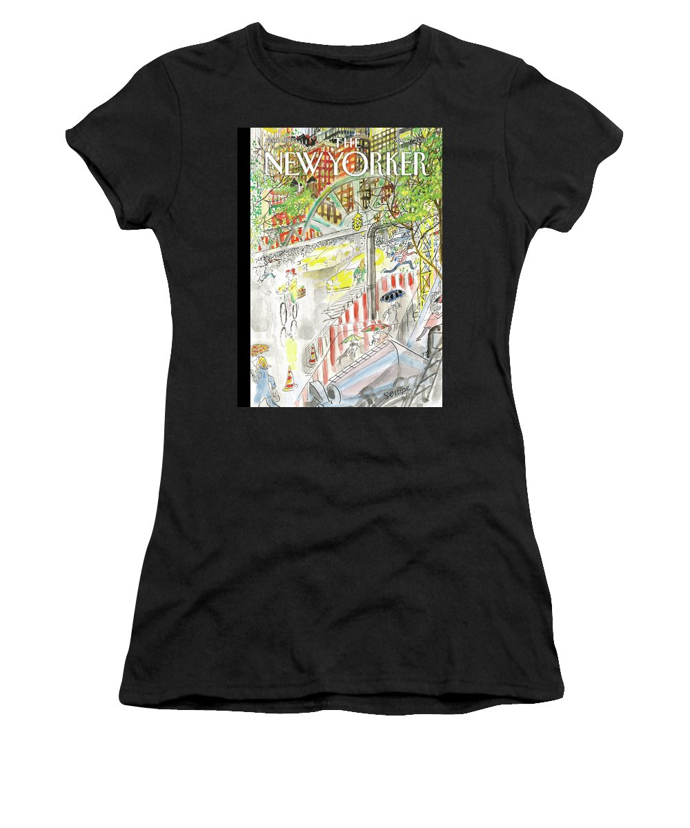 Biking In The Rain Women's T-Shirt featuring the painting Biking in the Rain by Jean-Jacques Sempe