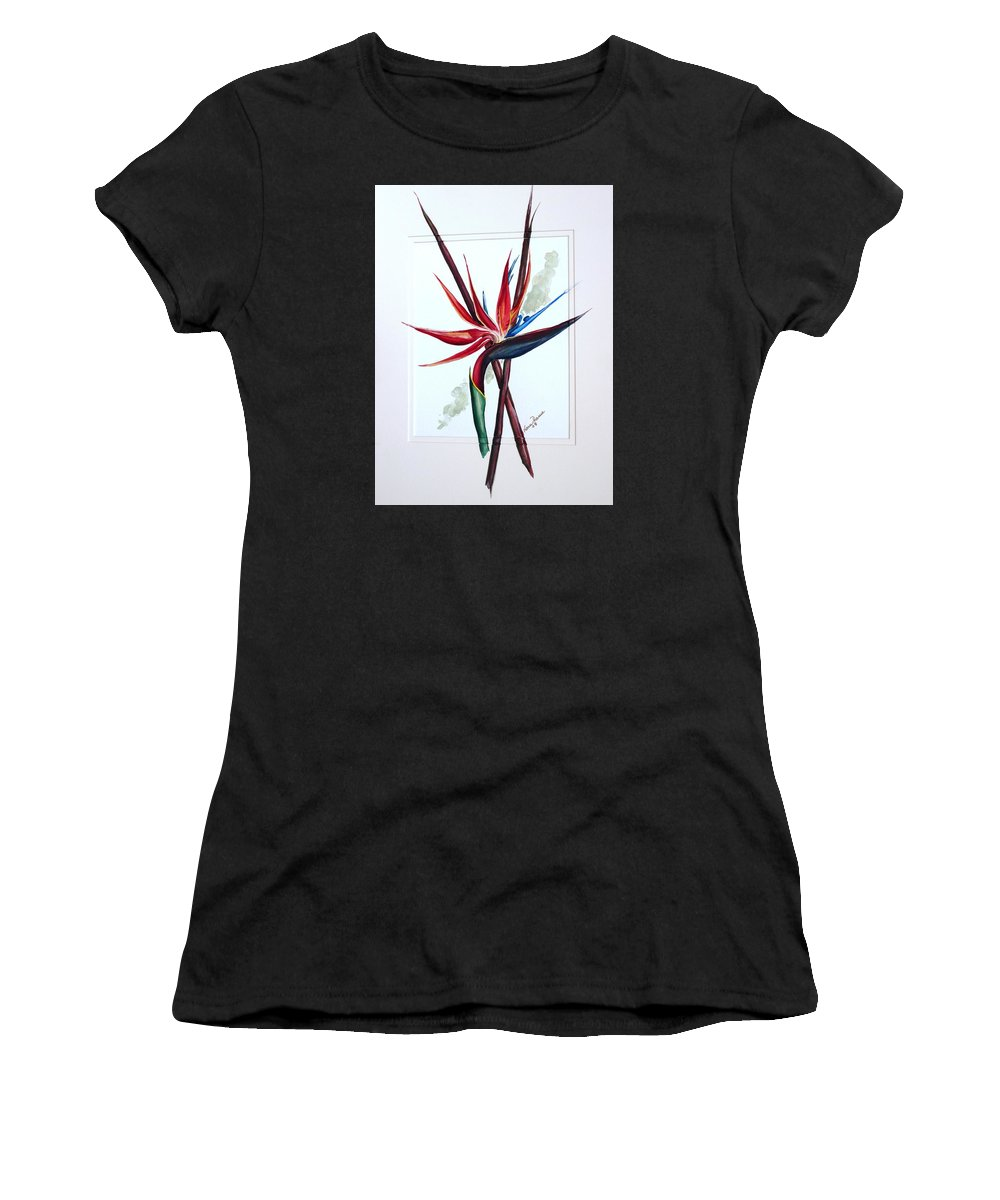 Floral Tropical Caribbean Flower Women's T-Shirt (Athletic Fit) featuring the painting Bird Of Paradise Lily by Karin Dawn Kelshall- Best
