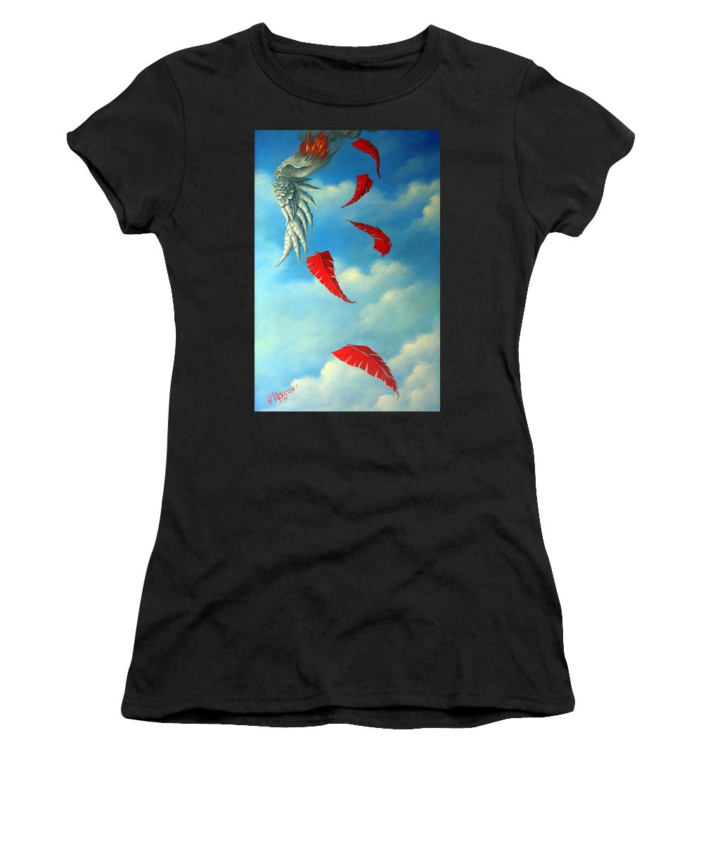 Surreal Women's T-Shirt (Athletic Fit) featuring the painting Bird On Fire by Valerie Vescovi