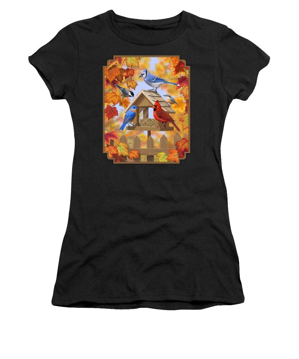 Wild Birds Women's T-Shirt featuring the digital art Bird Painting - Autumn Aquaintances by Crista Forest