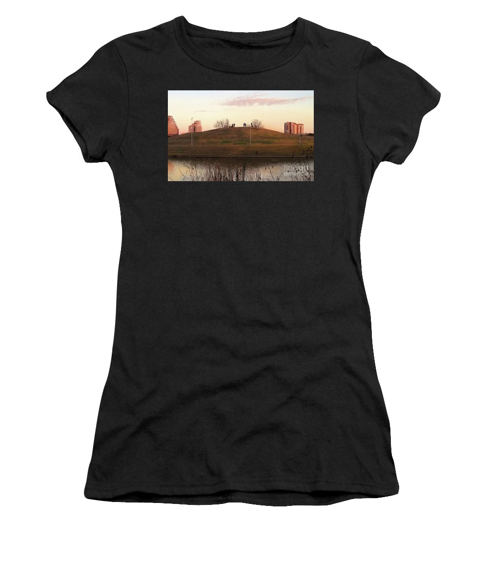 Butler Park Austin Texas Women's T-Shirt (Athletic Fit) featuring the photograph Birds And Fun At Butler Park Austin - Silhouettes 1 Detail by Felipe Adan Lerma