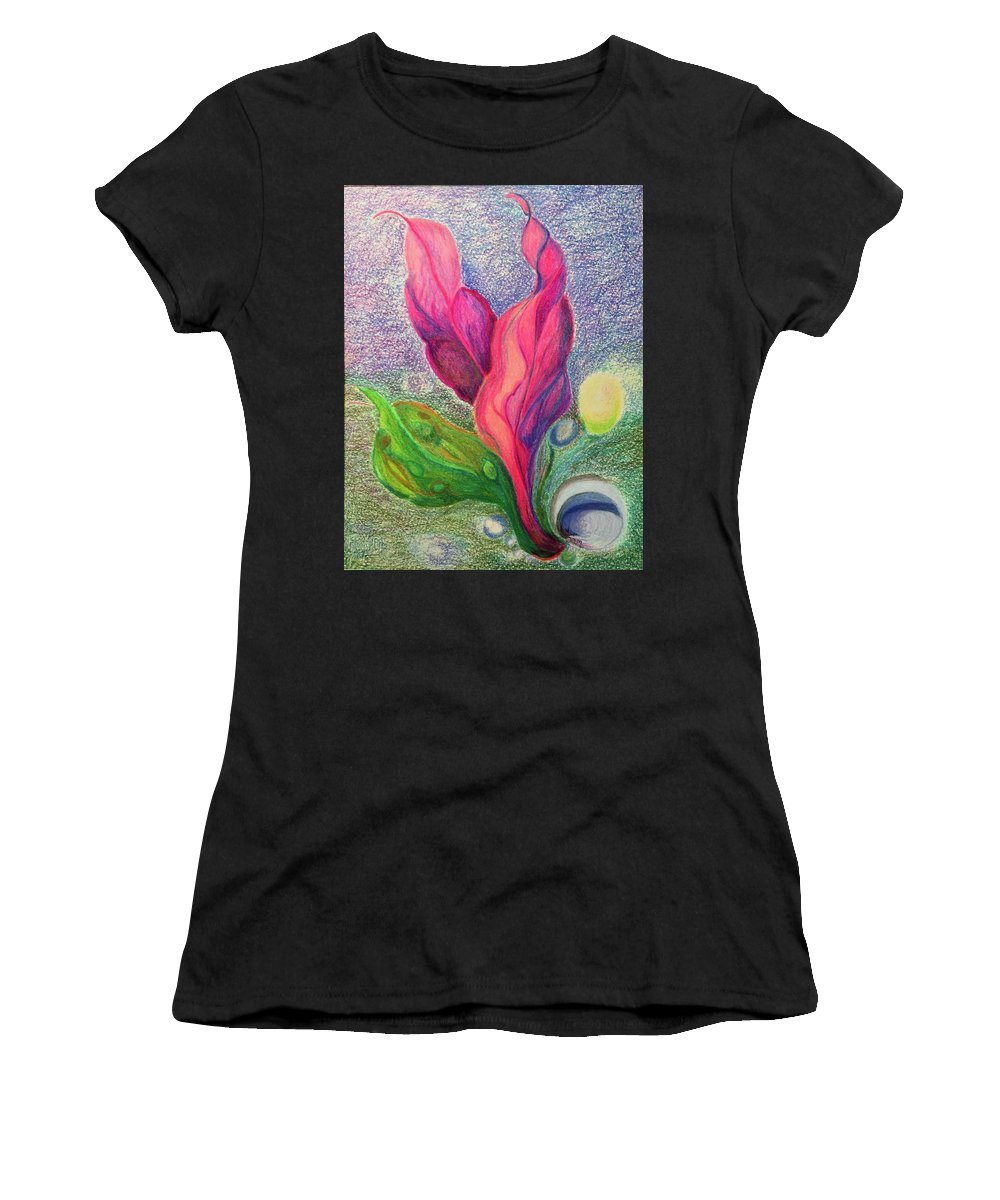Seascape Nature Plants Seas Water Growth Sealife Birth Women's T-Shirt featuring the drawing Birth by Suzanne Udell Levinger