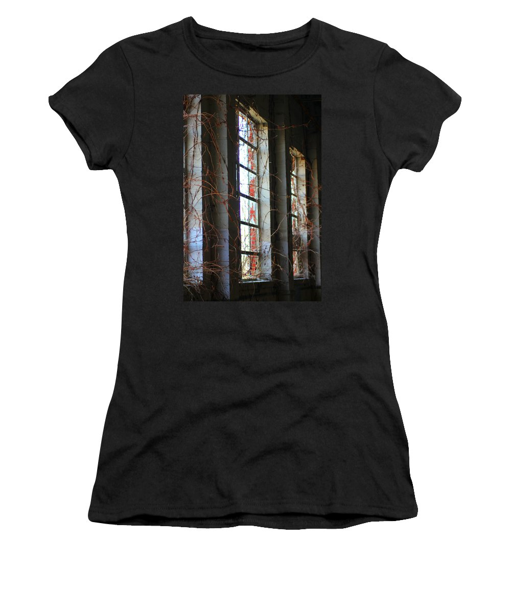 Windows Women's T-Shirt (Athletic Fit) featuring the photograph Bittersweet Memories by Karen Wagner