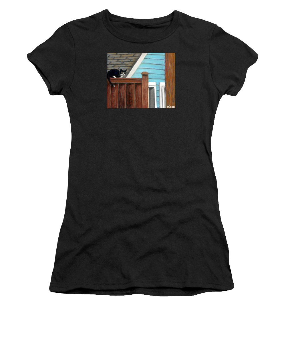Cat Women's T-Shirt (Athletic Fit) featuring the painting Black Alley Cat by Minaz Jantz
