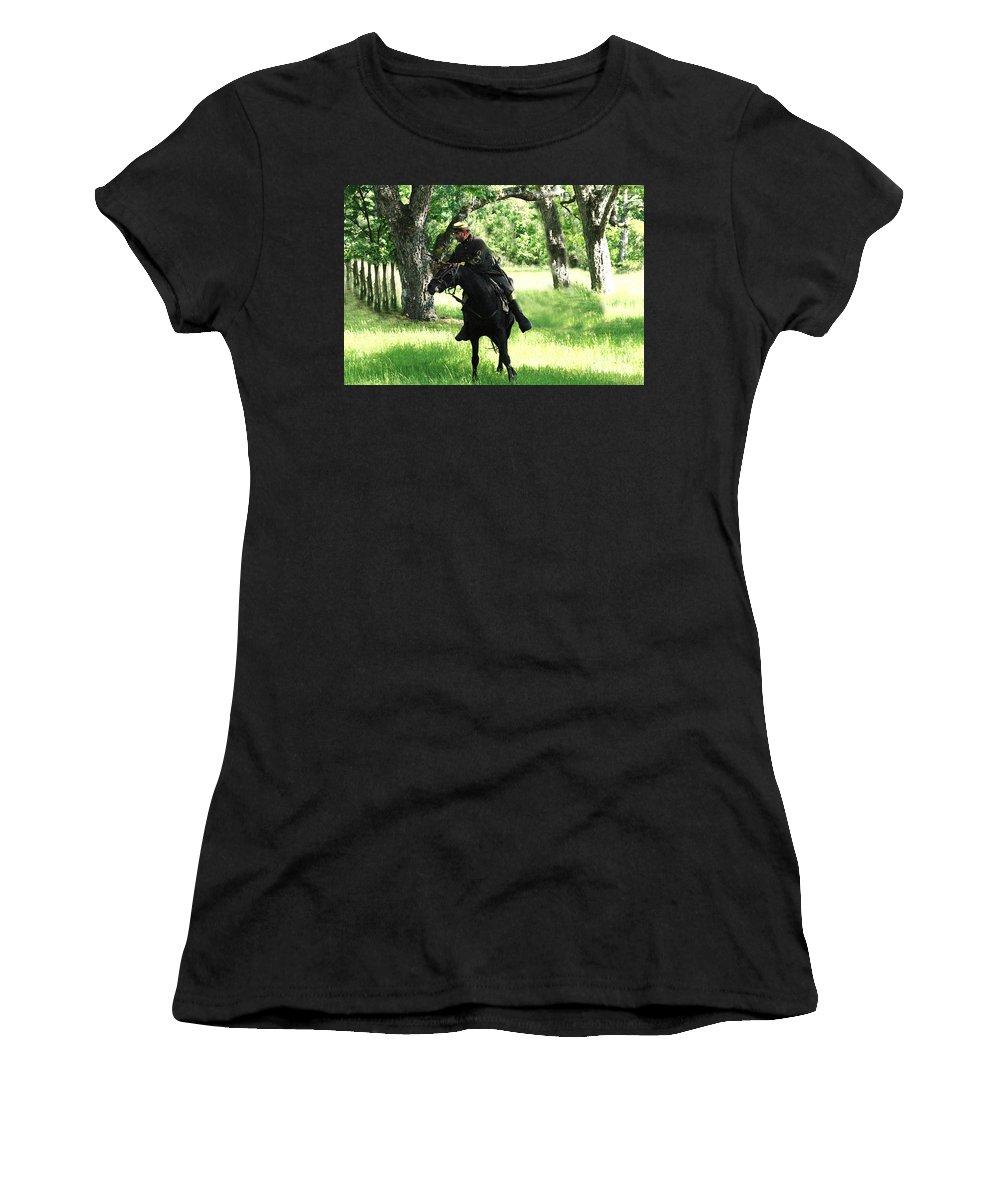 Civil War Re-enactment Women's T-Shirt featuring the photograph Black Amongst The Green by Kim Henderson
