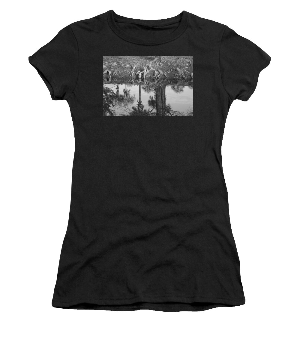 Roots Women's T-Shirt (Athletic Fit) featuring the photograph Black And White Water Reflections by Rob Hans