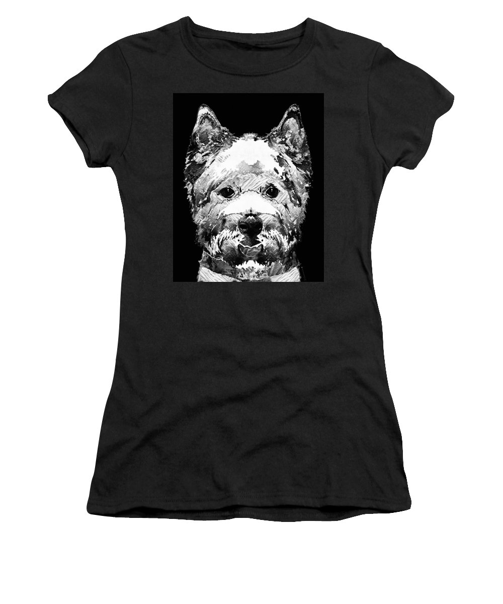 Westie Women's T-Shirt featuring the painting Black And White West Highland Terrier Dog Art Sharon Cummings by Sharon Cummings