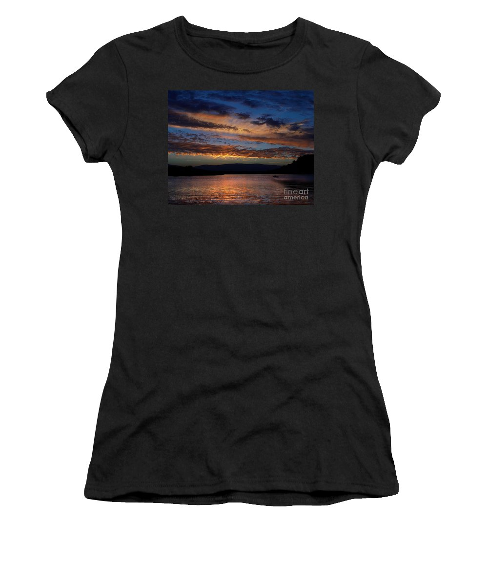 Black Butte Sunset Women's T-Shirt (Athletic Fit) featuring the photograph Black Butte Sunset by Peter Piatt