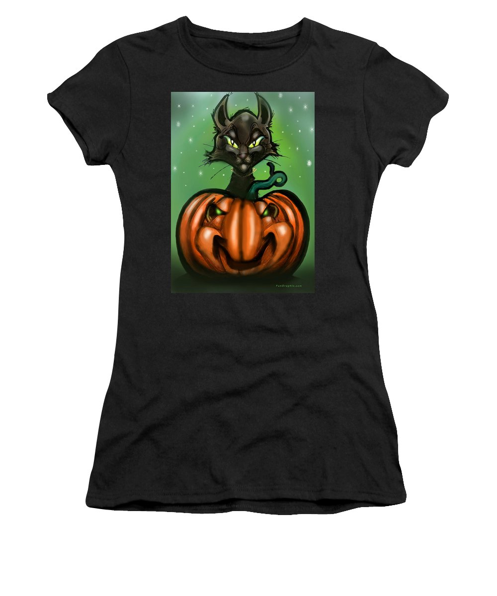 Halloween Women's T-Shirt (Athletic Fit) featuring the greeting card Black Cat N Pumpkin by Kevin Middleton