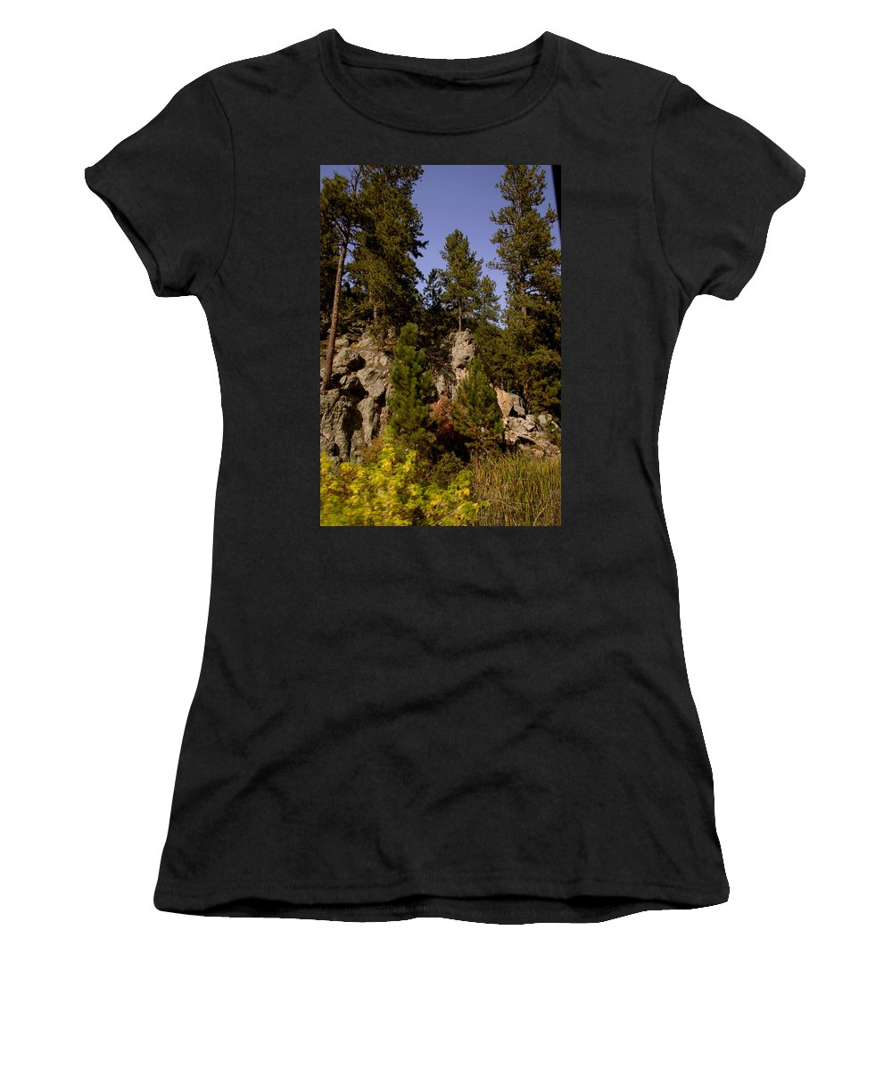 Mount Rushmore Women's T-Shirt (Athletic Fit) featuring the photograph Black Hills View by Mike Oistad
