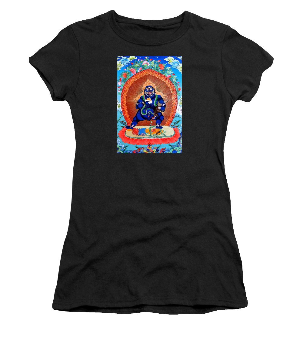 Black God Of Wealth Women's T-Shirt (Athletic Fit) featuring the photograph Black Jambhala 4 by Jeelan Clark