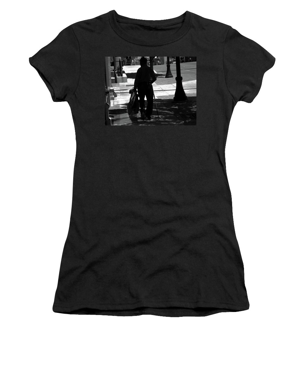 Abstract Women's T-Shirt featuring the photograph Black Man With Cane by Lenore Senior