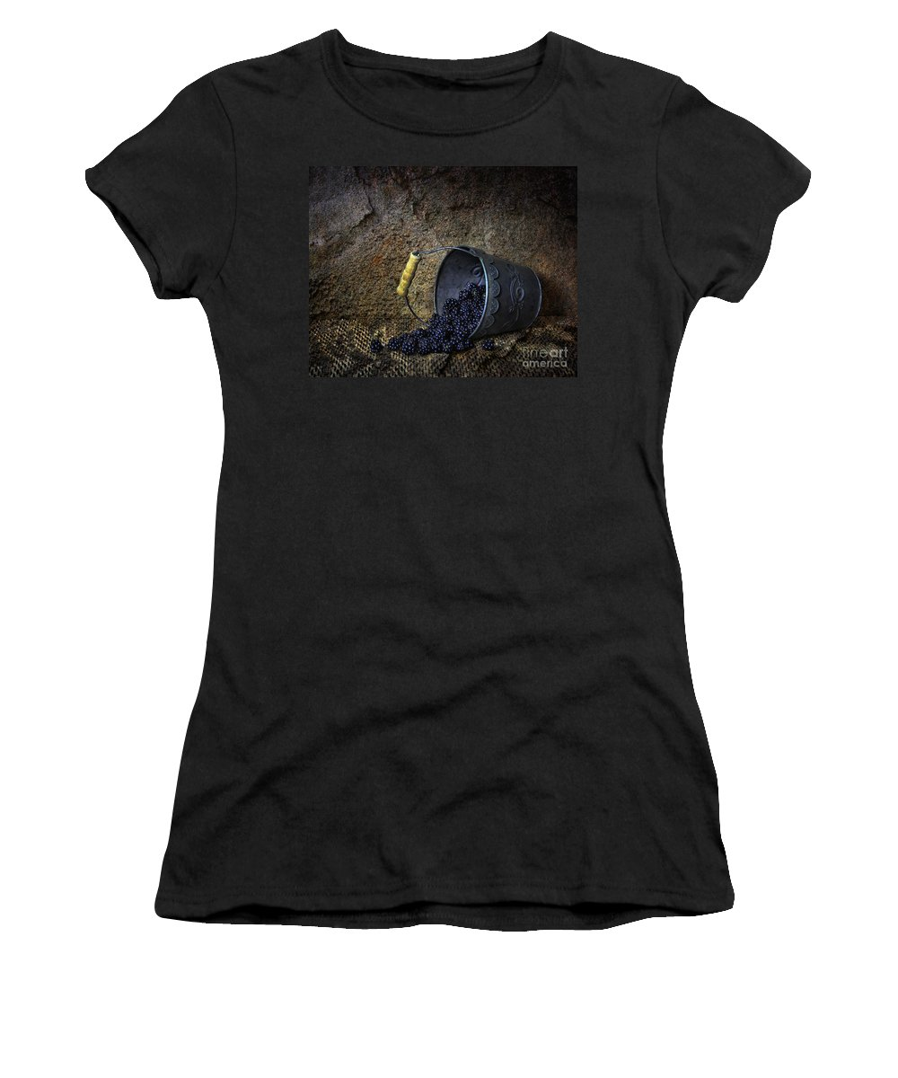 Blackberries Women's T-Shirt featuring the photograph Black Pearls by Sari Sauls