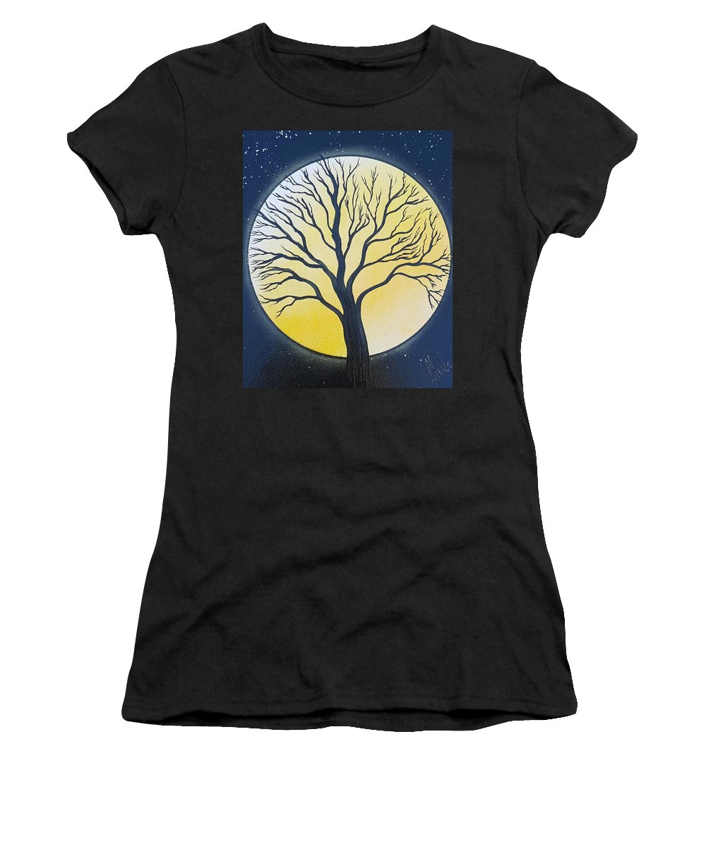 Moon Women's T-Shirt (Athletic Fit) featuring the painting Black Tree by Sheila Walker