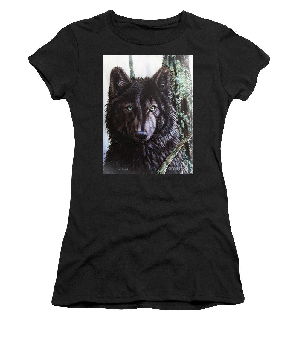 Wolves Women's T-Shirt (Athletic Fit) featuring the painting Black Wolf by Sandi Baker