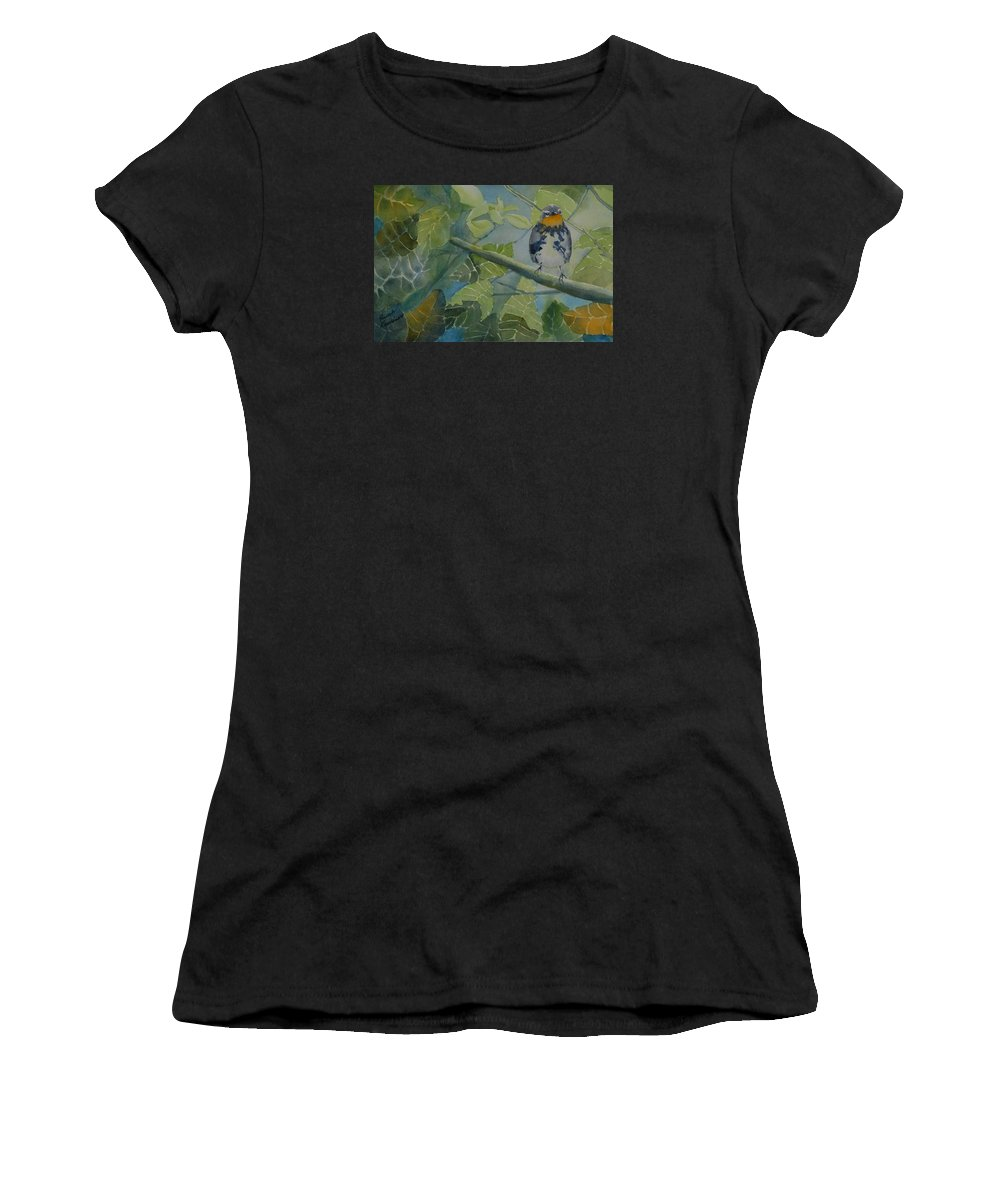 Bird Women's T-Shirt (Athletic Fit) featuring the painting Blackburnian Warbler I by Ruth Kamenev
