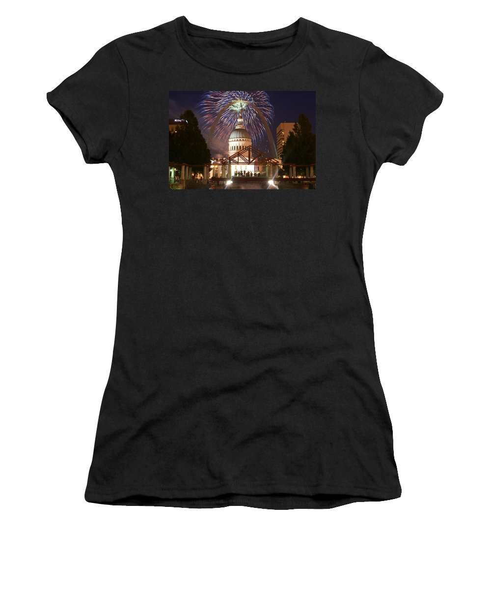 St. Louis Women's T-Shirt (Athletic Fit) featuring the photograph Blast In Saint Louis 1 by Marty Koch