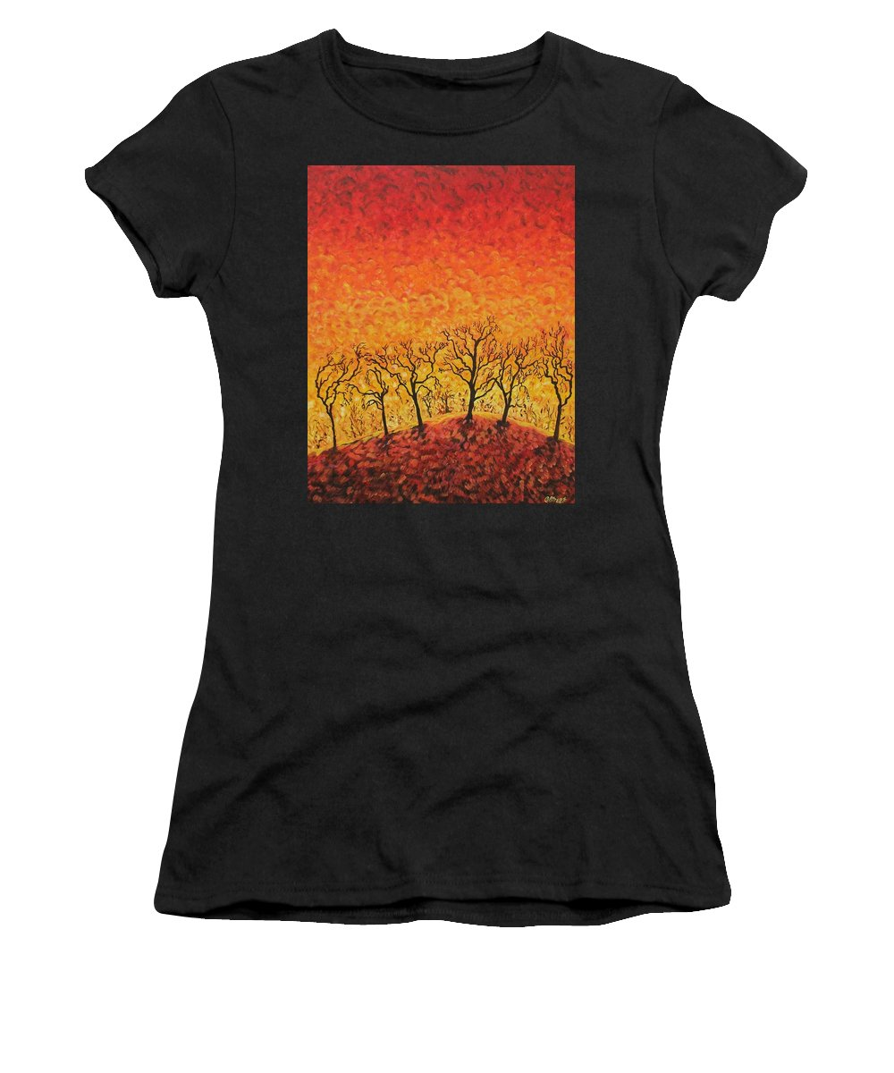 Fire Women's T-Shirt (Athletic Fit) featuring the painting Blaze by Caroline Street