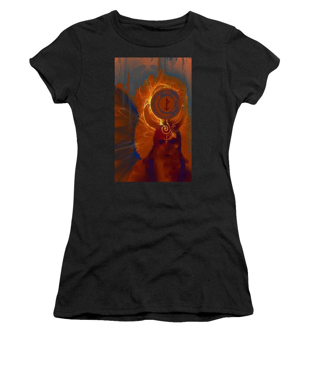Spiritual Women's T-Shirt (Athletic Fit) featuring the digital art Blazzing Wisdom Through Odins Essence by Stephen Lucas