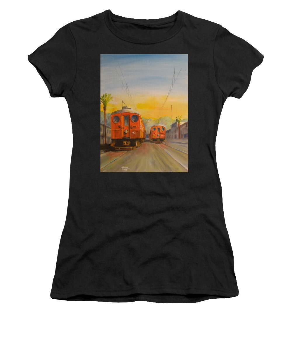 Streetcars Women's T-Shirt (Athletic Fit) featuring the painting Blimps by Christopher Jenkins