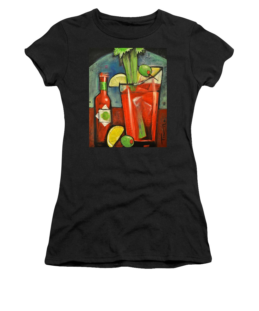 Bloody Mary Women's T-Shirt (Athletic Fit) featuring the painting Bloody Mary by Tim Nyberg