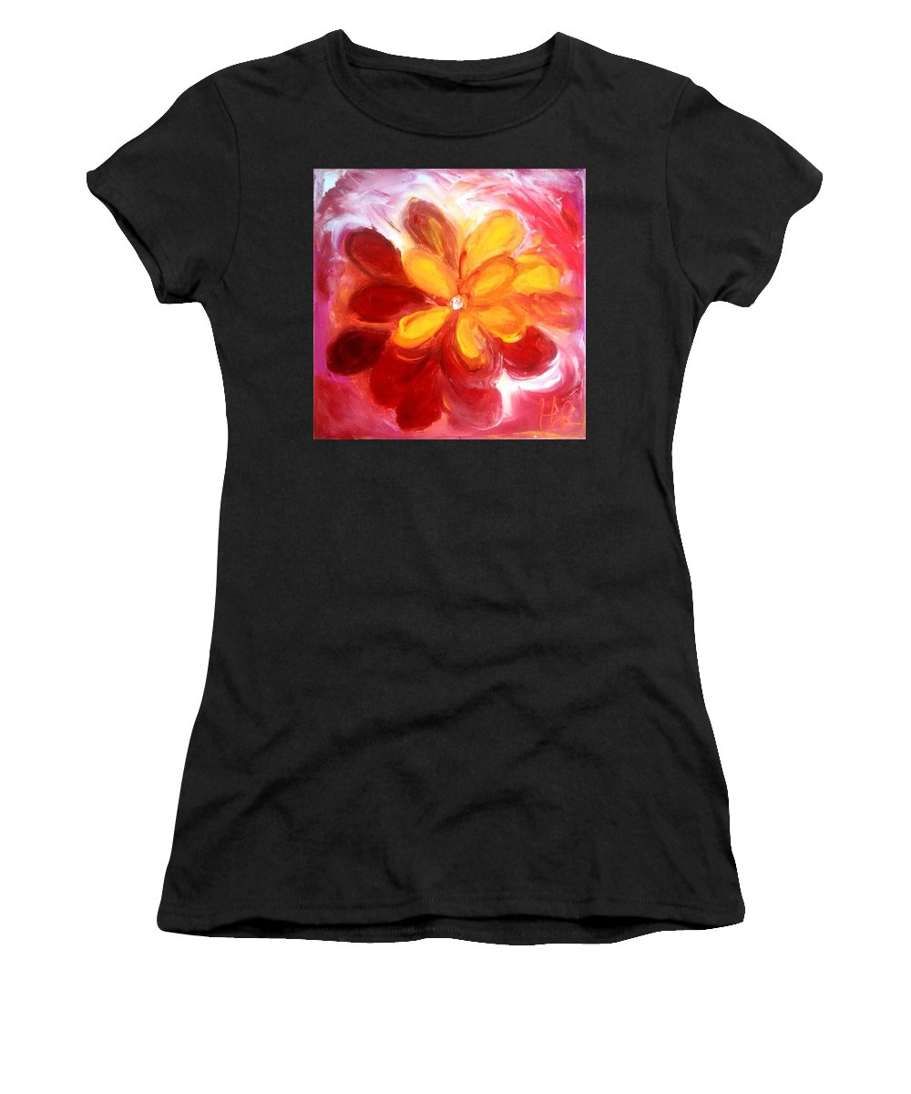 Flower Women's T-Shirt (Athletic Fit) featuring the painting Bloom by Heather Randazzo