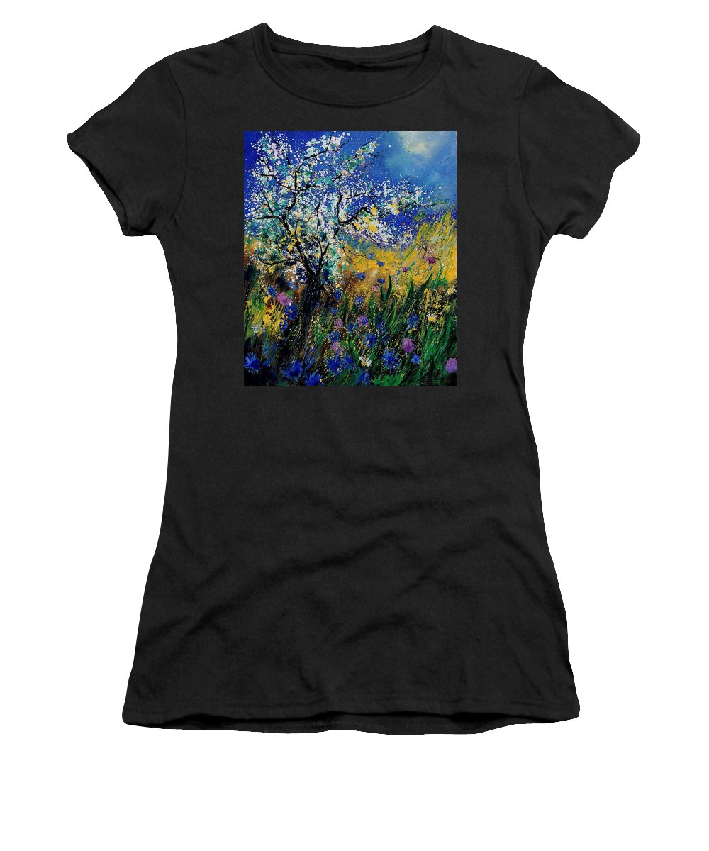 Spring Women's T-Shirt featuring the painting Blooming Appletree by Pol Ledent