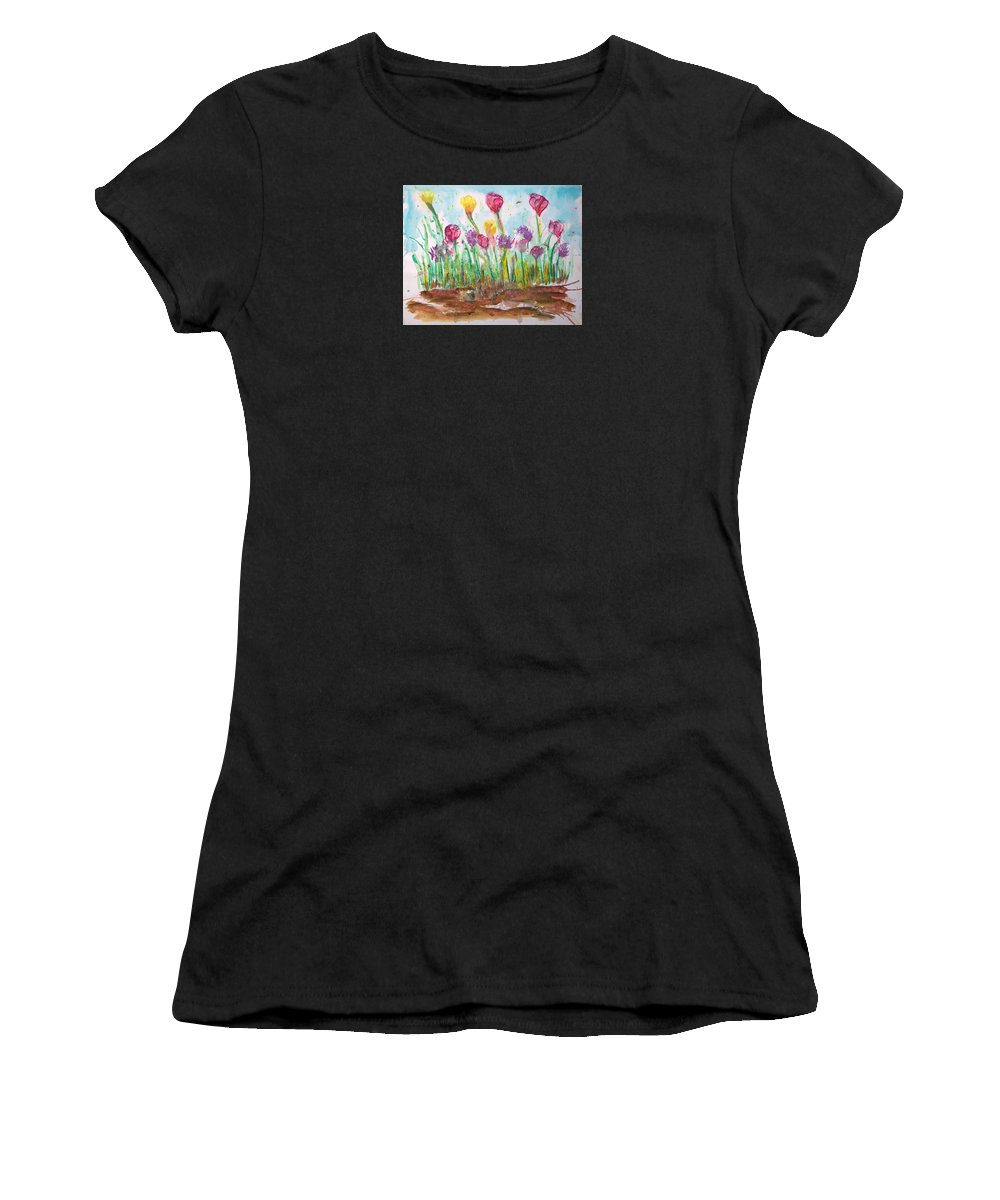 Flowers Women's T-Shirt (Athletic Fit) featuring the painting Blooming Colors by J R Seymour