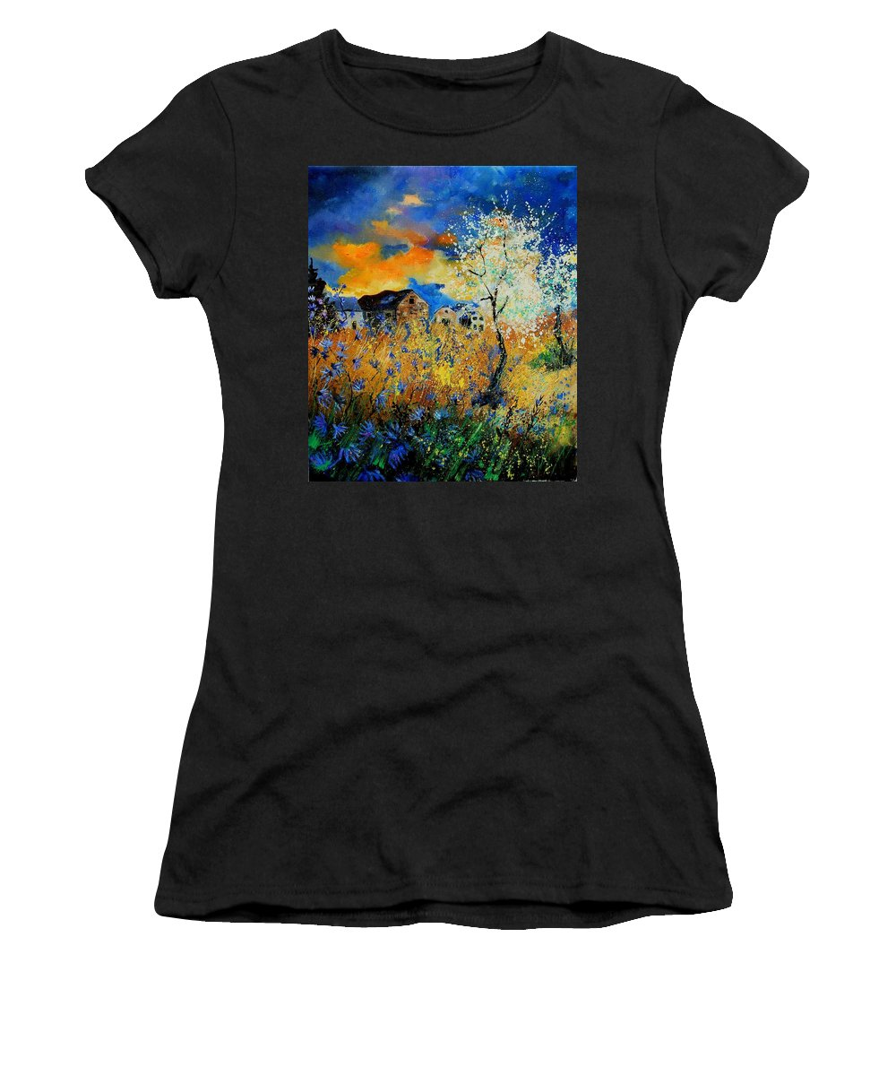 Poppies Women's T-Shirt (Athletic Fit) featuring the painting Blooming Trees by Pol Ledent