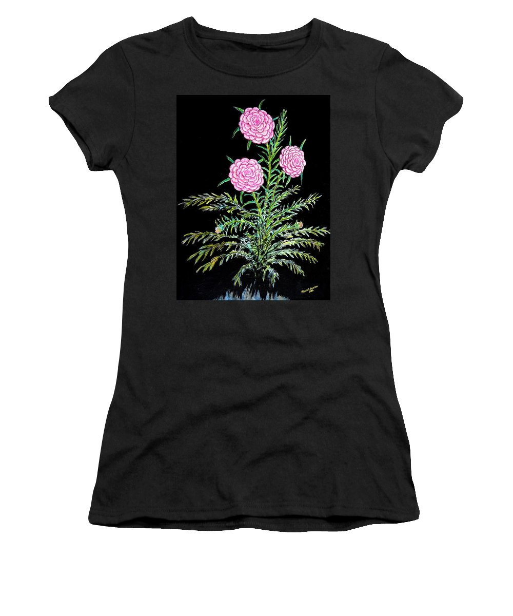 Art Trendsetting Universal Women's T-Shirt featuring the painting Blossom In High Spirit #2 by Mbonu Emerem