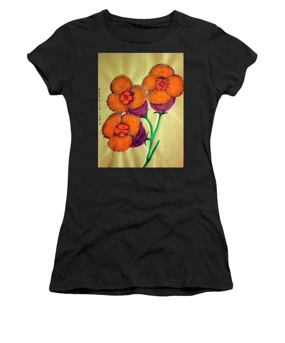 Art Trendsetting Universal Women's T-Shirt featuring the painting Blossom In High Spirit #6 by Mbonu Emerem