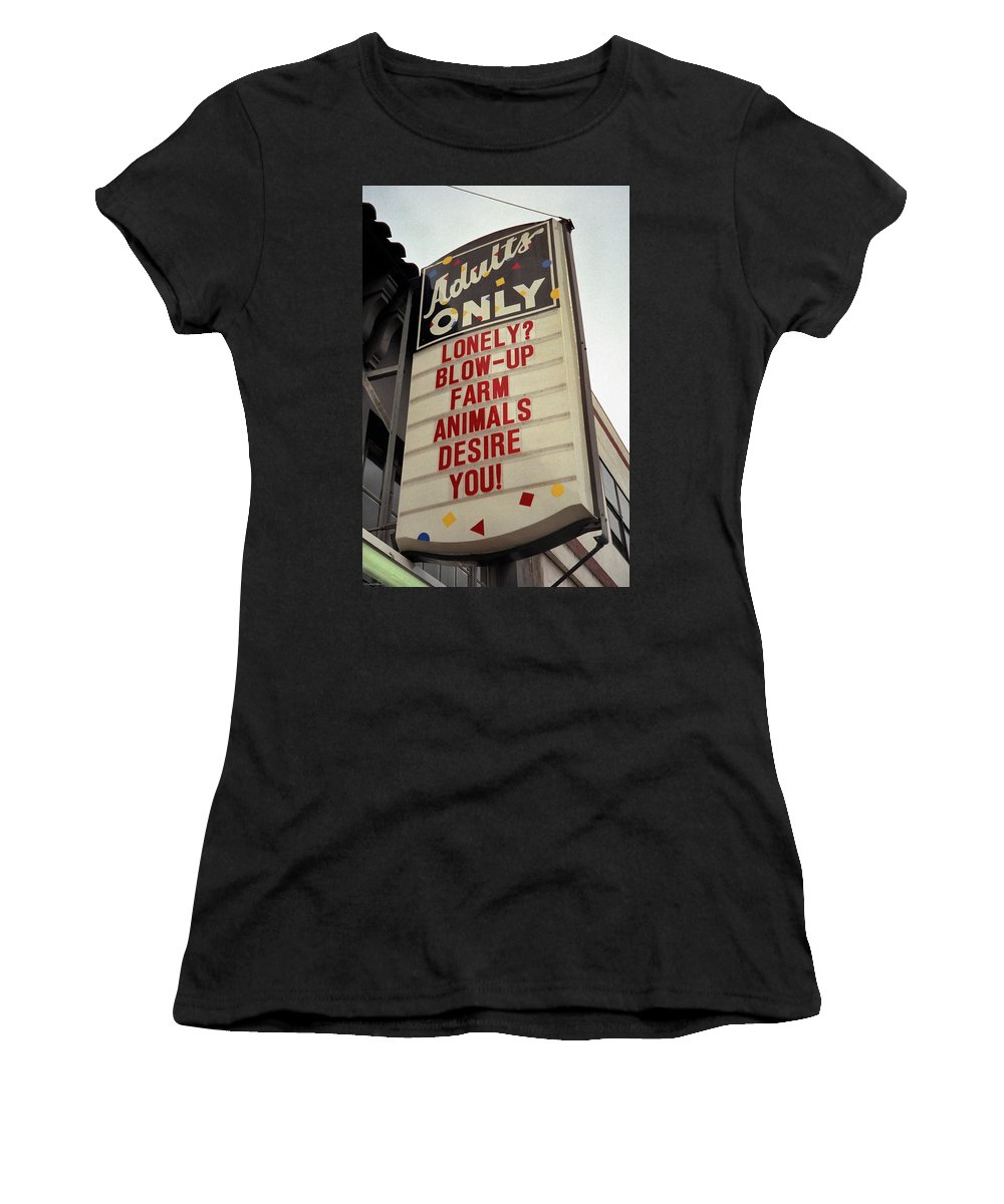 Color Women's T-Shirt featuring the photograph Blowup Farm Animals Sign by Frank DiMarco