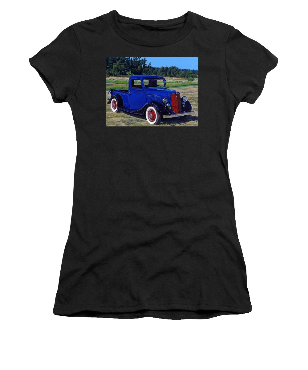 Blue Women's T-Shirt (Athletic Fit) featuring the painting Blue Truck by Marlyn Munter