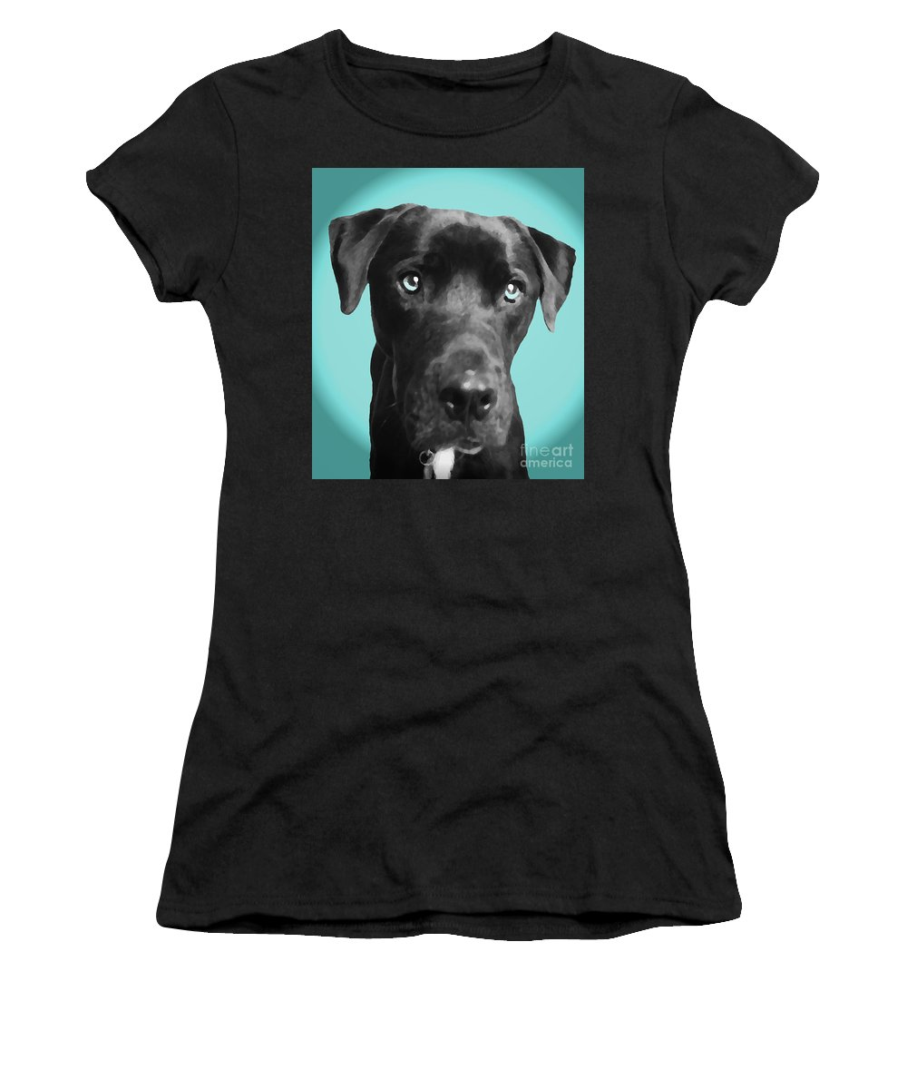 dog Art Women's T-Shirt (Athletic Fit) featuring the photograph Blue by Amanda Barcon